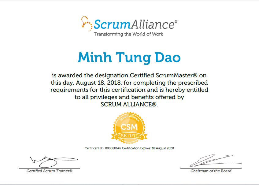 Scrum Alliance Minh Tung Dao
